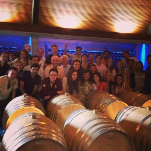 The group enjoying the private winery tour on the last day of our trip