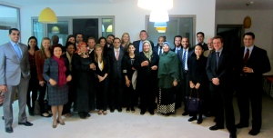 CBSers with the founders, staff, and 3 clients of Enda Inter-Arabe microfinance