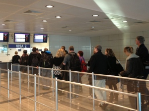 Foreigners at Istanbul Atatürk Airport wait in line to get a Turkish visa.Photo: Aziza Jamgerchinova (c) 2012