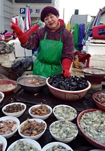 Vendor at the Jagalchi Fish Market, Busan
