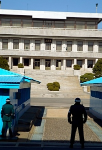 Looking onto the North Korea side of the Line of Demarcation, Joint Security Area
