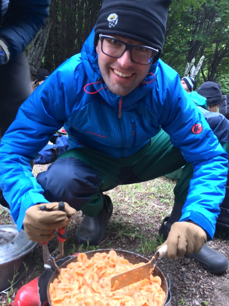 Carlo Dubini cooks a delicious pasta dinner for his tent team.