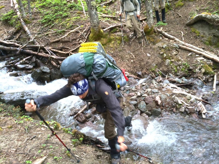 Hunter McDonald at one of our first 'river' crossings.