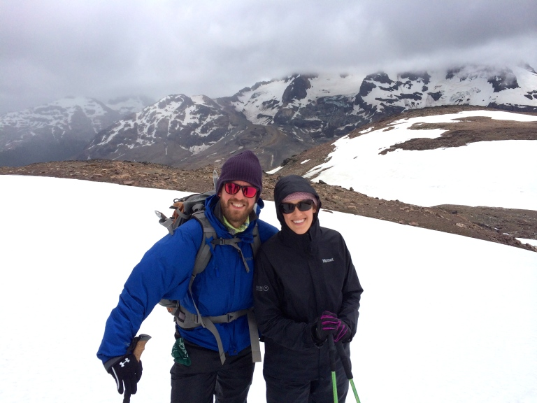 Adrien De Bontin and Jessica Basham on their way to the peak.