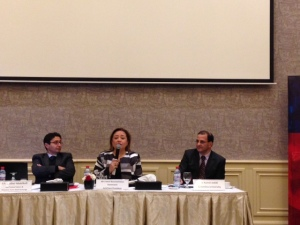 Listening to a panel at the Tunisian American Chamber of Commerce