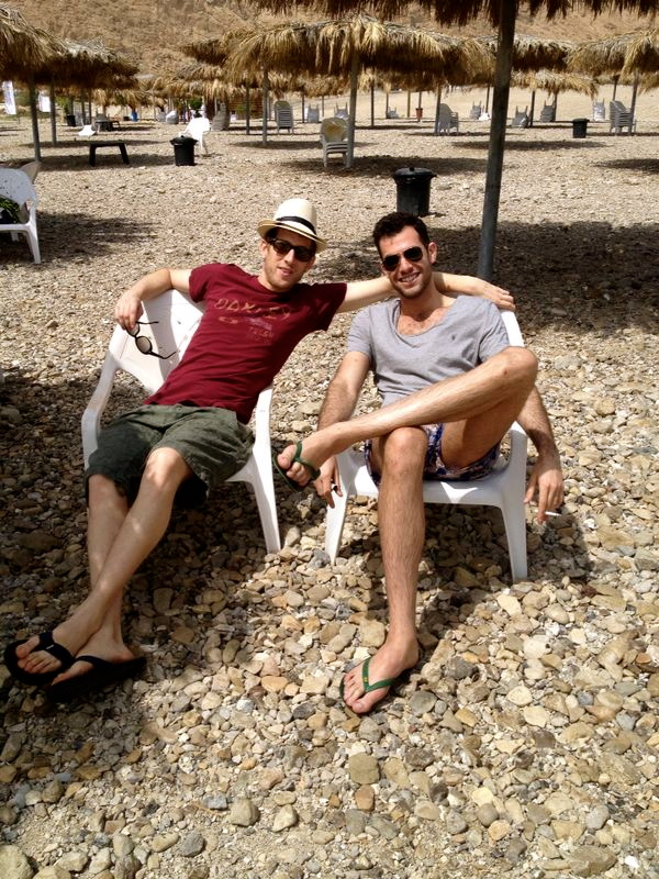Our incredible Israeli hosts, Yoav Rand & Guy Rejwan '15, relaxing at the Dead Sea