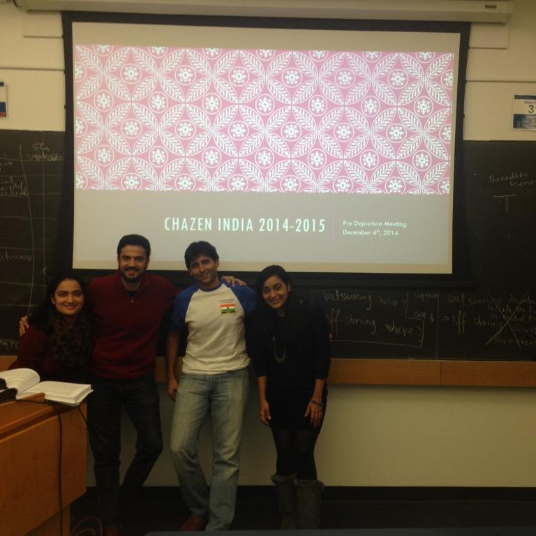 Chazen India Organizers from L to R: Mimi Vavilala, Karan Ahuja, Kusha Sanghrajka, and Surabhi Shastri (not pictured: Divya Goenka and Anuja Mehta)