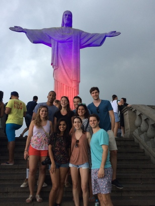 Posing in front of the iconic Christ The Redeemer statue
