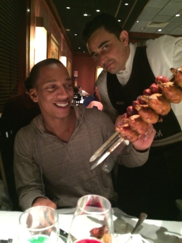 Enjoying unlimited meats of a fine Churrascaria