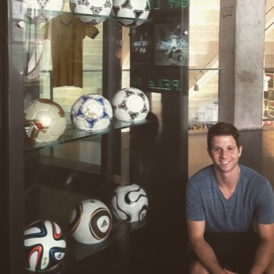 Posing with the soccer balls of the past 9 world cups