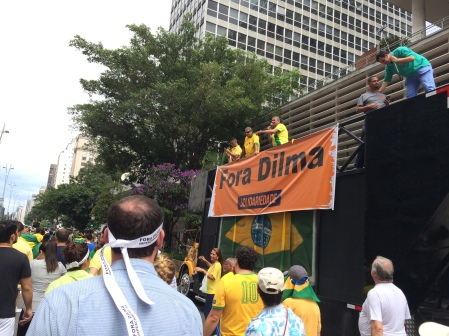 """Forza Dilma"" which means ""Dilma Out"" protesting that President Dilma should be kicked out of office"