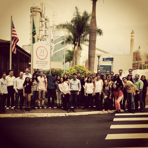 The entire class ready to take a tour of the Suzano Pulp and Paper factory
