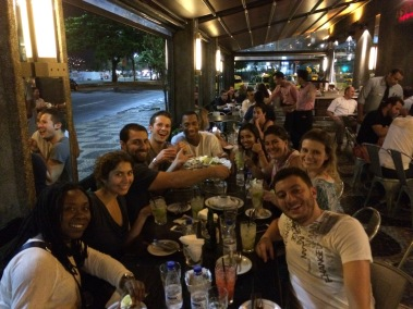 Enjoying caipirinhas and dinner at Bar Astor in Rio