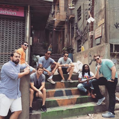 Stoop kids on set of a favela novela at TV Globo studios