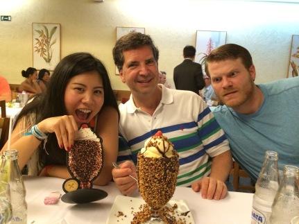 Enjoying giant desserts at our last dinner together