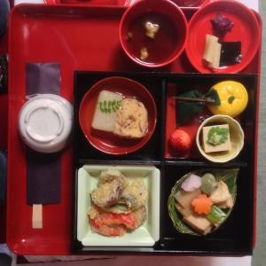 Traditional Japanese vegetarian meal at the Myonshinji Zen Buddhist temple