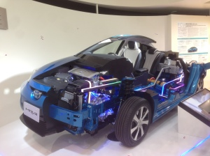 The Toyota Mirai, the company's first hydrogen fuel cell vehicle.
