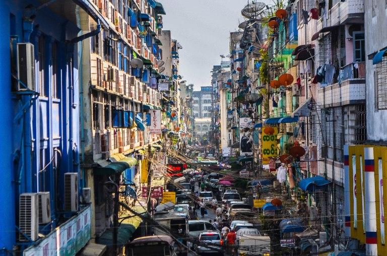 A typical street in Yangon, Myanmar